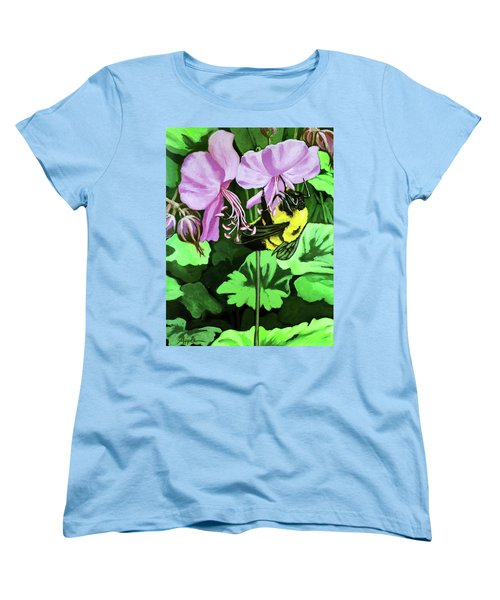 Women's T-Shirt (Standard Cut) featuring the painting Summer Garden Bumblebee And Flowers Nature Painting by Linda Apple