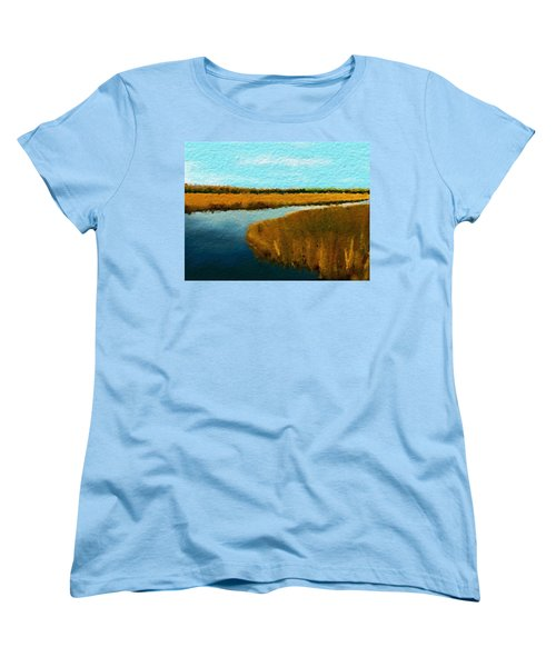 Women's T-Shirt (Standard Cut) featuring the digital art Summer Marsh South Carolina Lowcountry by Anthony Fishburne