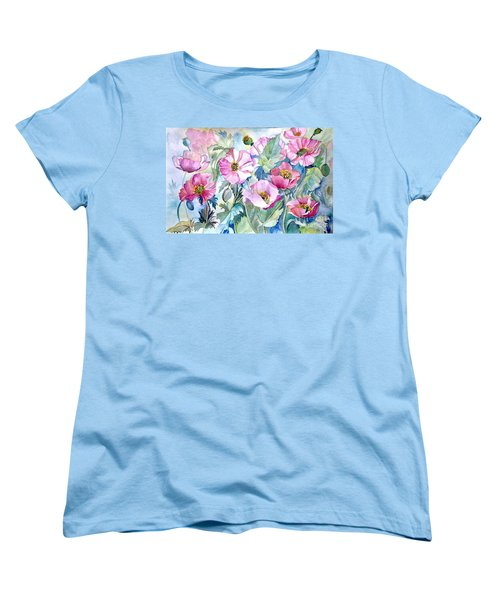 Women's T-Shirt (Standard Cut) featuring the painting Summer Poppies by Iya Carson