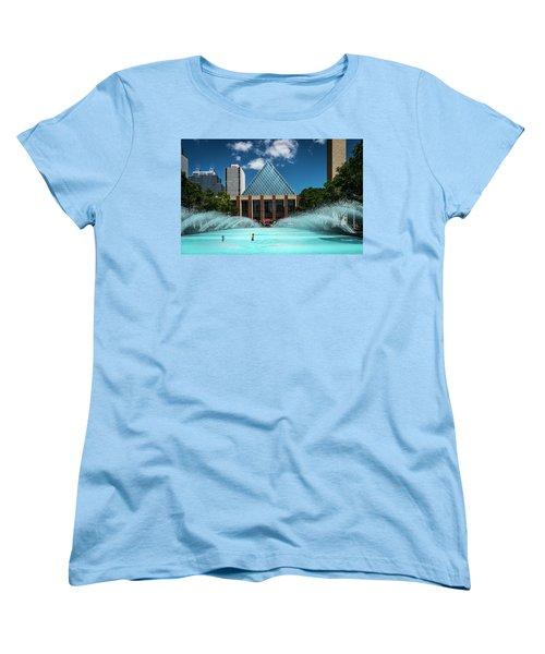 Women's T-Shirt (Standard Cut) featuring the photograph Summer Splash Downtown Edmonton by Darcy Michaelchuk
