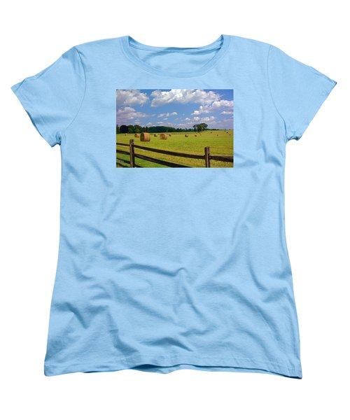 Women's T-Shirt (Standard Cut) featuring the photograph Sun Shone Hay Made by Byron Varvarigos