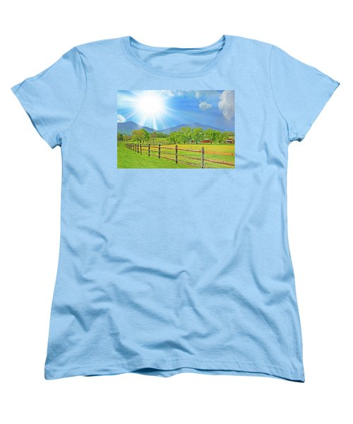 Sunburst Over Peaks Of Otter, Virginia Women's T-Shirt (Standard Cut) by The American Shutterbug Society