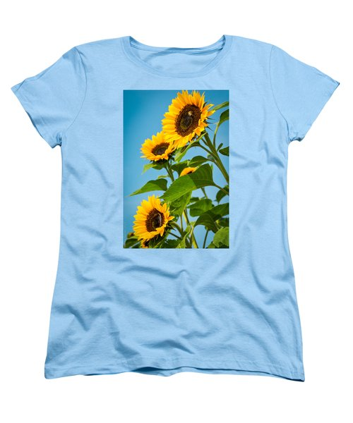 Sunflower Morning Women's T-Shirt (Standard Cut) by Debbie Karnes