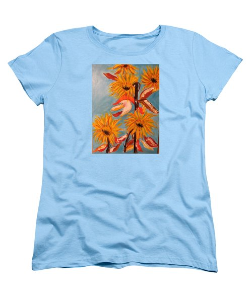 Women's T-Shirt (Standard Cut) featuring the painting Sunflowers At Harvest by Sharyn Winters