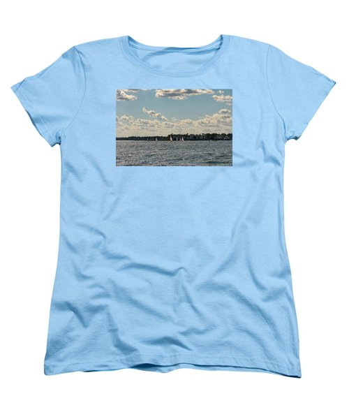 Sunlit Sailboats Norwalk Connecticut From The Water Women's T-Shirt (Standard Cut) by Marianne Campolongo