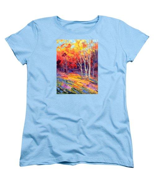Women's T-Shirt (Standard Cut) featuring the painting Sunlit Shadows by Tatiana Iliina