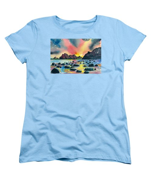 Women's T-Shirt (Standard Cut) featuring the painting Sunrise And Water by Terry Banderas