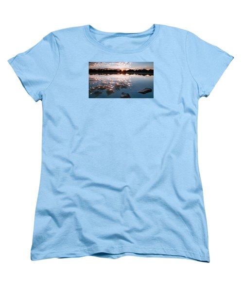 Women's T-Shirt (Standard Cut) featuring the photograph Sunrise At Cattails Chorus Ponds by Monte Stevens
