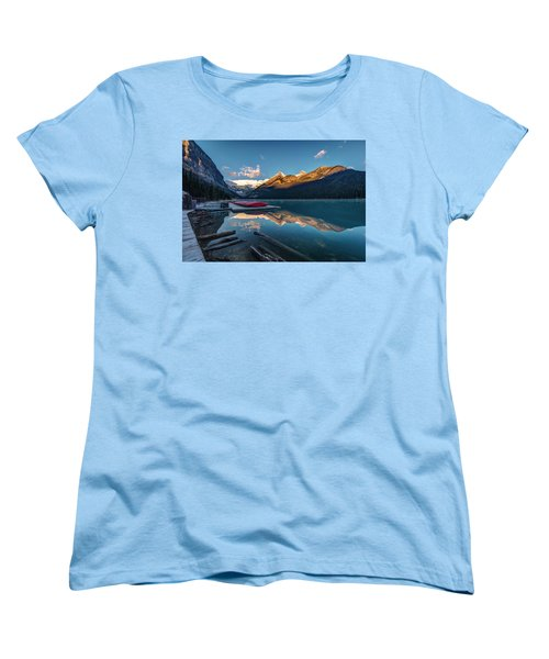 Women's T-Shirt (Standard Cut) featuring the photograph Sunrise At The Canoe Shack Of Lake Louise by Pierre Leclerc Photography