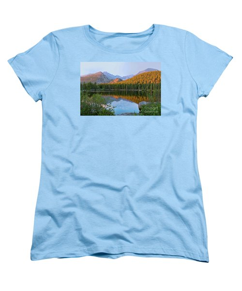 Women's T-Shirt (Standard Cut) featuring the photograph Sunrise On Bear Lake Rocky Mtns by Teri Atkins Brown