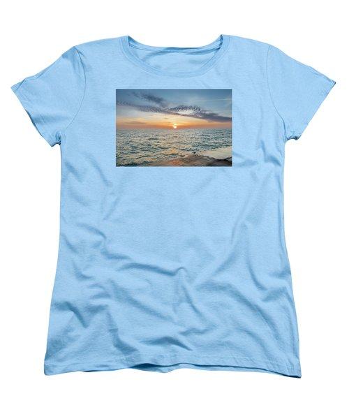Women's T-Shirt (Standard Cut) featuring the photograph Sunrise Over Lake Michigan by Peter Ciro