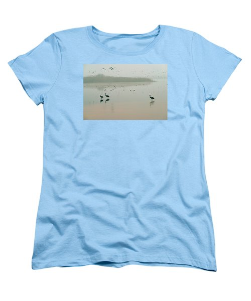 Women's T-Shirt (Standard Cut) featuring the photograph Sunrise Over The Hula Valley Israel 2 by Dubi Roman