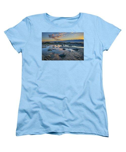 Women's T-Shirt (Standard Cut) featuring the photograph Sunrise Reflections On Wells Beach by Rick Berk