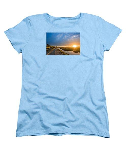 Sunset And Railroad Tracks Women's T-Shirt (Standard Cut) by Greg Nyquist