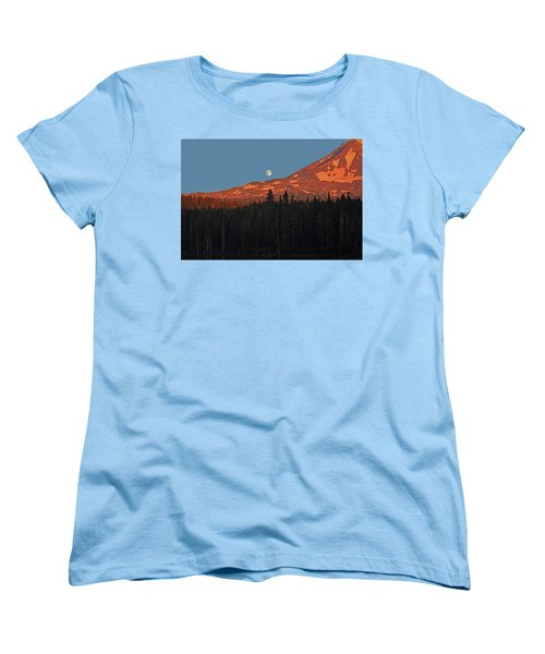 Women's T-Shirt (Standard Cut) featuring the photograph Sunset And Sunrise At Mt Adams by Jack Moskovita