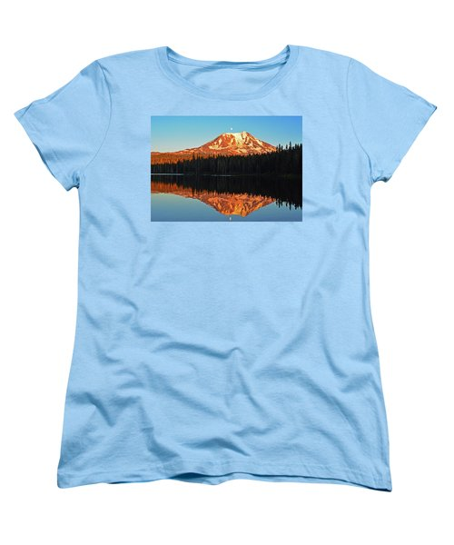 Women's T-Shirt (Standard Cut) featuring the photograph Sunset And Sunrise Mt Adams by Jack Moskovita