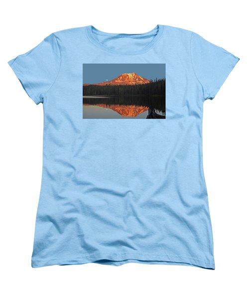 Women's T-Shirt (Standard Cut) featuring the photograph Sunset And Moonrise At Takhlakh Lake by Jack Moskovita