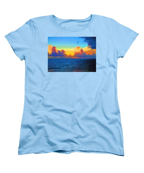 Sunset At Sea Women's T-Shirt (Standard Cut) by Greg Norrell