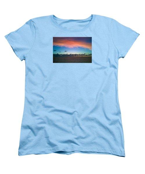 Women's T-Shirt (Standard Cut) featuring the photograph Sunset At Sea by Matthew Bamberg
