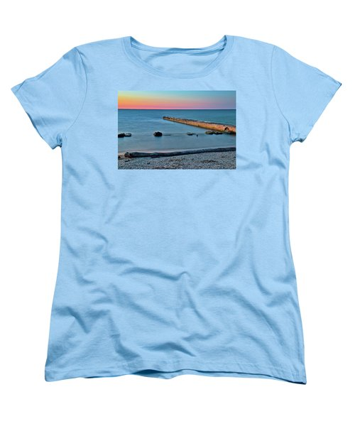 Women's T-Shirt (Standard Cut) featuring the photograph Sunset Beach On Lake Erie by Frozen in Time Fine Art Photography