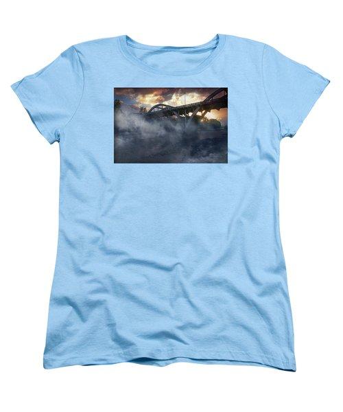 Sunset Fog At Caveman Bridge Women's T-Shirt (Standard Cut) by Mick Anderson