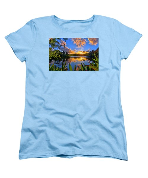 Sunset Over Hidden Lake In Jupiter Florida Women's T-Shirt (Standard Cut) by Justin Kelefas