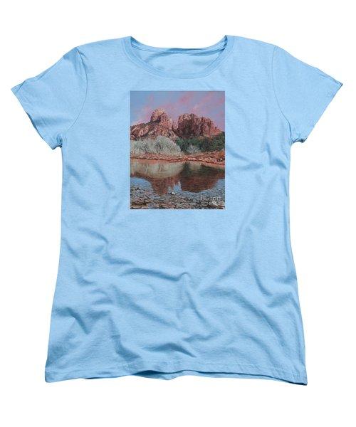Sunset Over Red Rocks Of Sedona  Women's T-Shirt (Standard Cut) by Barbara Barber