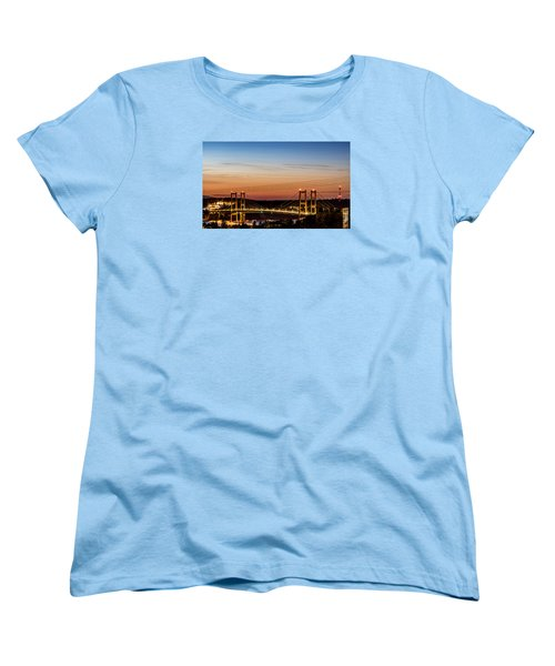 Sunset Over The Tacoma Narrows Bridges Women's T-Shirt (Standard Cut) by Rob Green