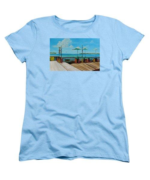Sunset Pier Tiki Bar - Key West Florida Women's T-Shirt (Standard Cut) by Lloyd Dobson