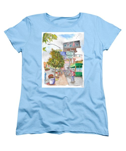 Sunset Plaza, Sunset Blvd., And Londonderry, West Hollywood, California Women's T-Shirt (Standard Cut) by Carlos G Groppa