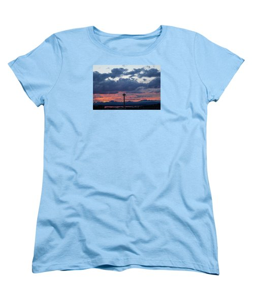 Sunset Red Clouds And Space Needle Women's T-Shirt (Standard Cut) by Suzanne Lorenz