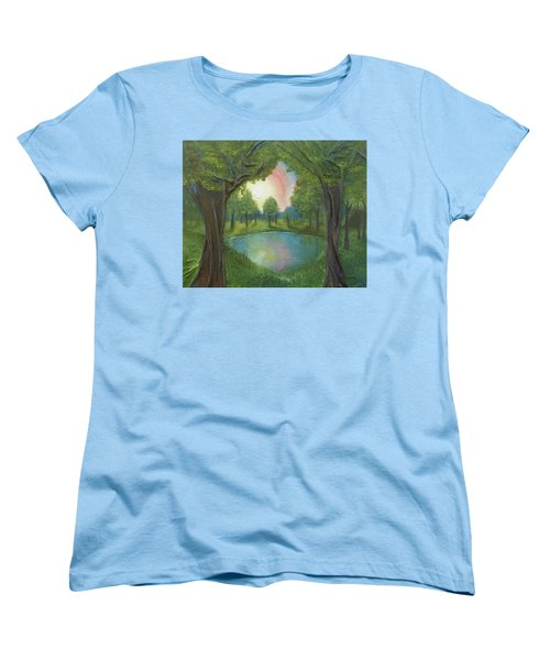 Women's T-Shirt (Standard Cut) featuring the mixed media Sunset Through Trees by Angela Stout