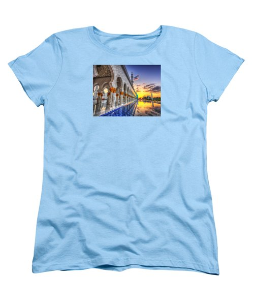 Sunset Water Path Temple Women's T-Shirt (Standard Cut) by John Swartz