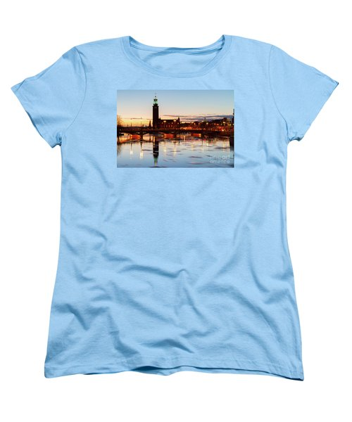 Sunset With Cityhall Of Stockholm Women's T-Shirt (Standard Cut) by Anastasy Yarmolovich