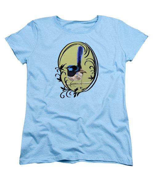 Superb Blue Wren Australian Bird Women's T-Shirt (Standard Cut) by Lorraine Kelly