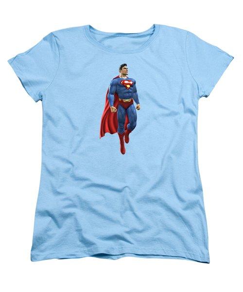 Women's T-Shirt (Standard Cut) featuring the mixed media Superman Splash Super Hero Series by Movie Poster Prints