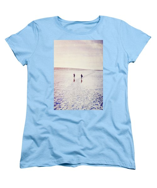 Women's T-Shirt (Standard Cut) featuring the photograph Surfers In The Snow by Lyn Randle