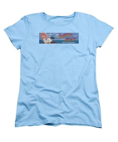 Surfside Beach Sign Women's T-Shirt (Standard Cut) by Barbara McDevitt