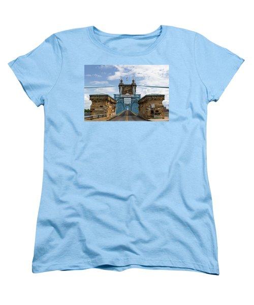 Suspension Bridge Wide Angel Women's T-Shirt (Standard Cut) by Scott Meyer