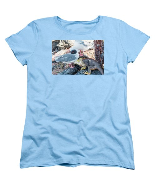 Swallow Tailed Gull And Iguana On  Galapagos Islands Women's T-Shirt (Standard Cut) by Marek Poplawski