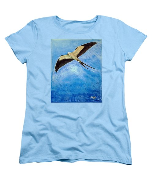 Women's T-Shirt (Standard Cut) featuring the mixed media Swallowtail Sighting by Suzanne McKee