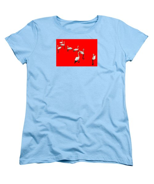 Women's T-Shirt (Standard Cut) featuring the photograph Swan Family On Red by Constantine Gregory