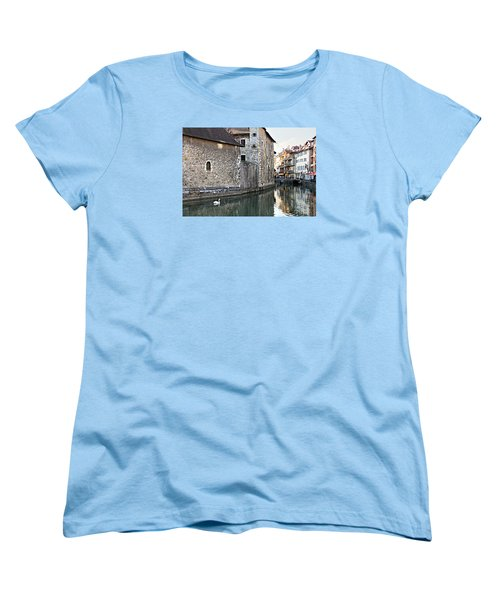 Swan In Annecy France Canal Women's T-Shirt (Standard Cut) by Katie Wing Vigil