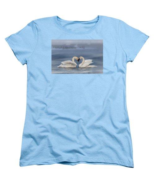 Swan Valentine - Blue Women's T-Shirt (Standard Cut) by Patti Deters