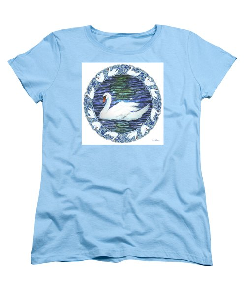 Swan With Knotted Border Women's T-Shirt (Standard Cut) by Lise Winne
