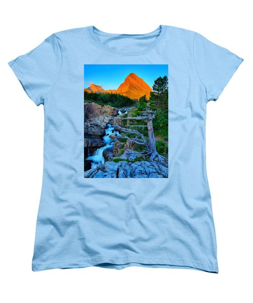 Women's T-Shirt (Standard Cut) featuring the photograph Swiftcurrent Falls by Greg Norrell