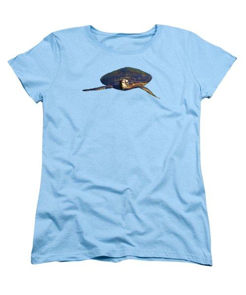 Swimming Turtle Women's T-Shirt (Standard Cut) by Pamela Walton