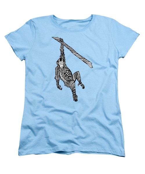 Swinging Chimpanzee Zentangle Women's T-Shirt (Standard Cut) by Kylee S