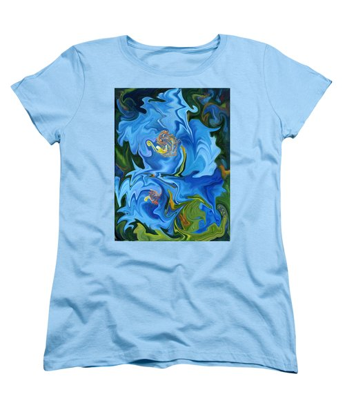 Swirled Blue Poppies Women's T-Shirt (Standard Cut) by Renate Nadi Wesley