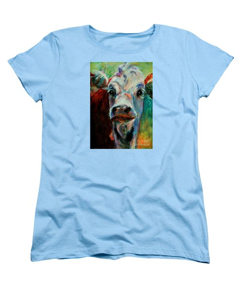 Women's T-Shirt (Standard Cut) featuring the painting Swiss Cow - 1 by David  Van Hulst